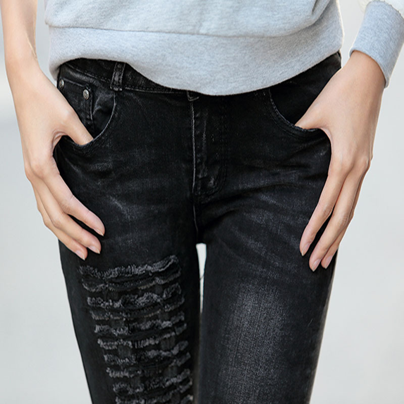 2015 New Brand 100% Cotton Women Mid Waist Skinny Ripped Denim Black Jeans Fashion Ladies Pencil Pants D6626 - Hello madam store