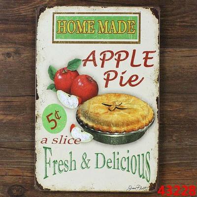 Fresh delicious apple pie homemade Metal Tin Sign Metal Painting Metal ...