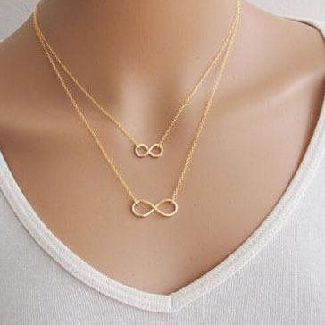 Summer Sexy Gold Plated & Silver Plated Fine Clavicle Chain Fashion Infinity Necklaces WN390(China (Mainland))