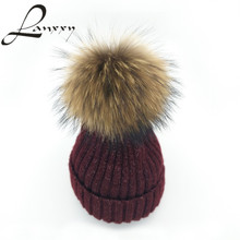 Lanxxy 2016 New Fashion Silver Mix Knitted Wool Cotton Hat Real Mink Fur Pompom Hat Girls Winter Caps Pom Poms Beanies Skullies(China (Mainland))