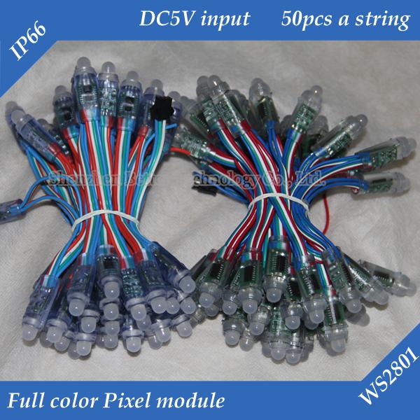 Free shipping 3000pcs/lot 12mm WS2801 pixel module IP68 DC5V input full color