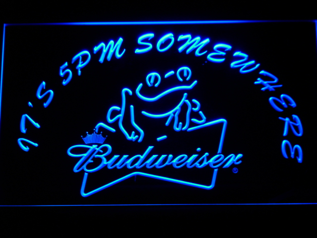 416 It's 5 pm Somewhere budweiser Frog LED Neon Sign(China (Mainland))