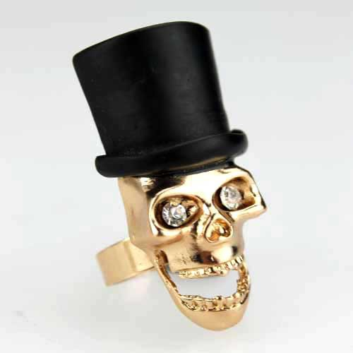 CEV fashion gold skeleton ring with hat cheap skull head ring crystal skull ring 2014 hot sale women rings(China (Mainland))