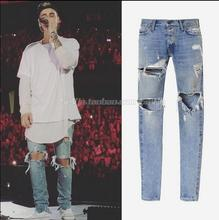 Mens Designer RedLine Rockstar Justin Bieber Kanye WEST Yeezy Ripped Skinny Denim Jeans for High Quality  fear of God Fear Men