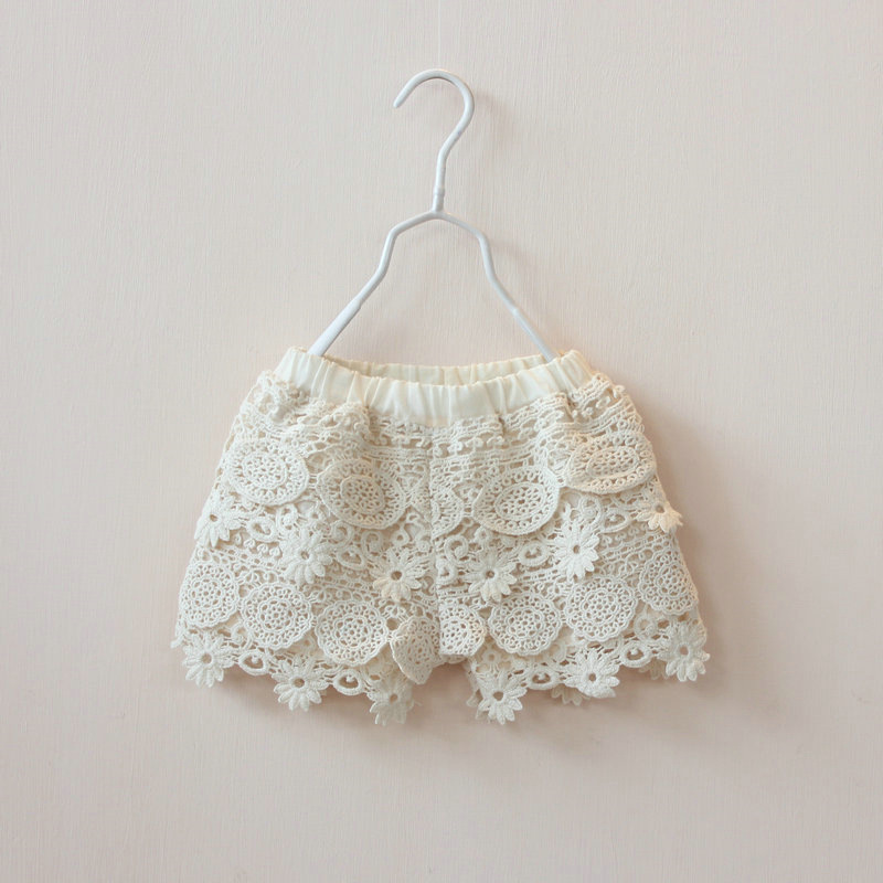 Girls Lace Shorts 2015 New Summer Baby Girl Princess Crochet Hollow Cotton Children Clothes