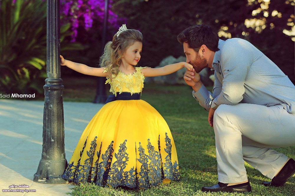 2015 Sexy Cheap Yellow Blue Ball Gown Girl Pageant Dresses With Sash Ribbon Flower Girl Dresses Kids Formal(China (Mainland))