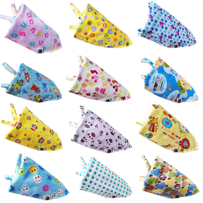 Colorful Newborn 0-3 Years Baby Boy Girl Bibs Cartoon Infant Toddler Bandana Bibs Cotton Kids Saliva Towel Triangle Head Scarf(China (Mainland))