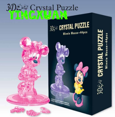 DIY 3D Jigsaw Crystal Puzzle Minnie Mouse Plastic Home Decoration Birthday Gift for Children(China (Mainland))