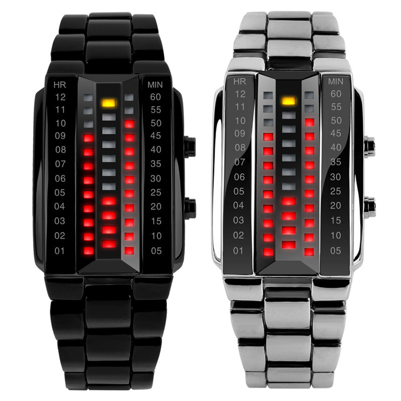 Luxury Lovers' Wristwatch Waterproof Men Women Stainless Steel Red Binary Luminous LED Electronic Display Sport Watches Fashion(China (Mainland))