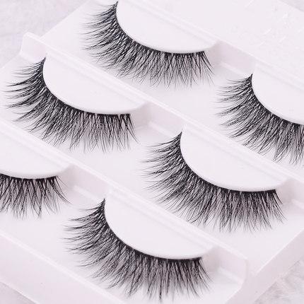 Free shipping 3pcs/lot 100% handmade real mink fur false eyelash 3D strip mink lashes thick fake faux eyelashes Makeup beauty(China (Mainland))