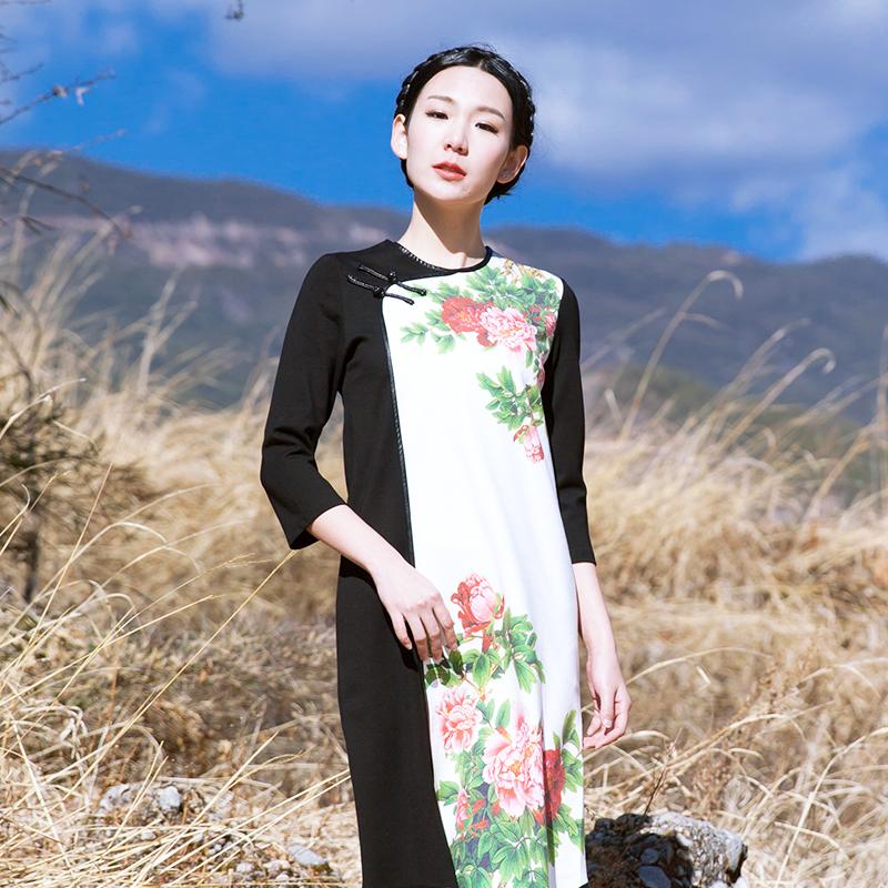 BOHOCHIC Original Vintage Bohemian Ethnic Spliced Cheongsam Spring Womens Long Dresses Maxi Cotton Linen Robe AZ0400C Boho ChicОдежда и ак�е��уары<br><br><br>Aliexpress