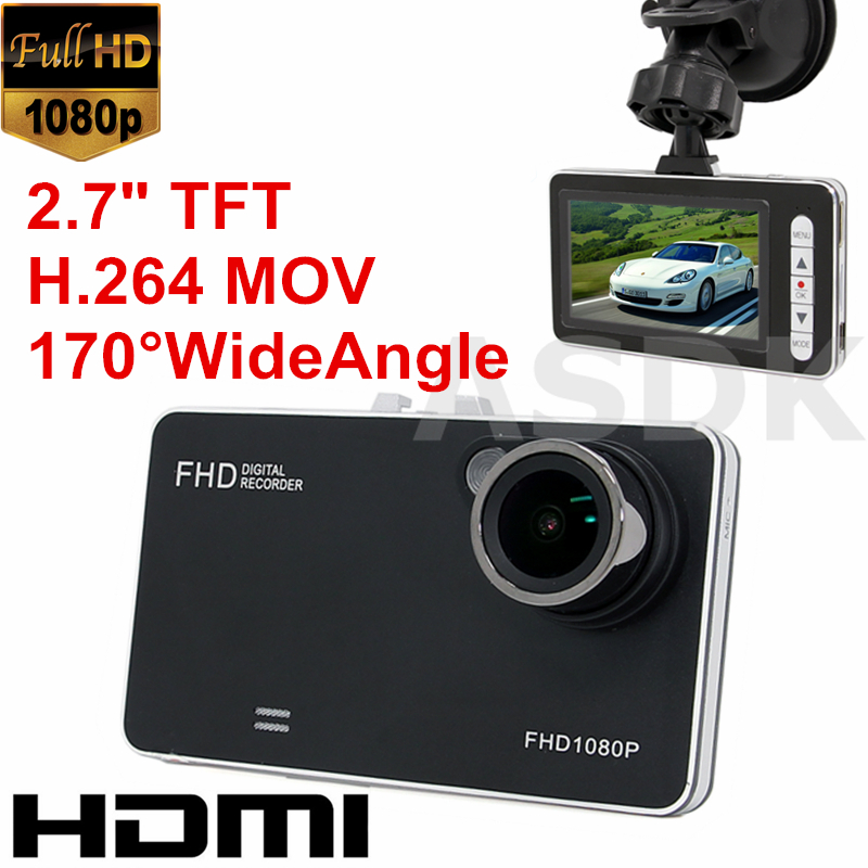 "A9 Car DVR 1920*1080P Full HD Car Recorder 2.7"" TFT MOV H.264 Dash Cam with Motion Detection HDMI Cable A9 Car DVR(China (Mainland))"