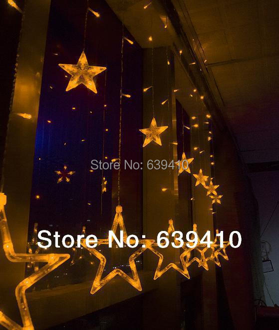 2pcs/lot 168LED Icicle Christmas Holiday Light Wedding Party garden Decoration 2m Clear Bulb Star curtain light with tail plug(China (Mainland))