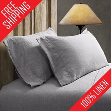 FreeShipping 100% Pure Linen Sheet Set Soft White Gray 4pcs Include Flat Sheet Fitted Sheet Pillowcase Twin Queen Full King Size(China (Mainland))