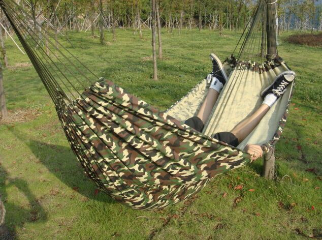 200*150cm Outdoor Portable 2 People camping Hammock sleeping bag Swing Set Parachute Indoor Camouflage Thicken Canvas Hammock(China (Mainland))