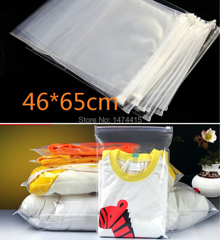 large clear plastic ziplock clothes packing bags 46*65cm big size clear plastic ziplock zipper packaging garment bag(China (Mainland))