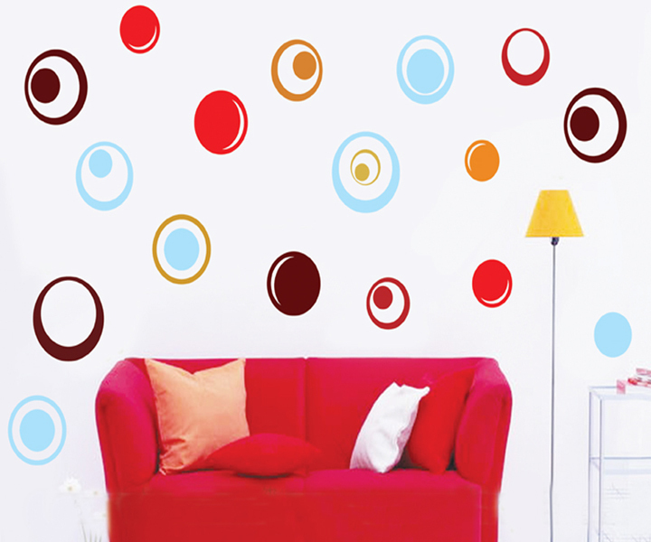 Hot Sale Colorful Circle Simple Style Wall Sticker Vinyl Waterproof Removable Decal Home Decoration For Kid Room CT211