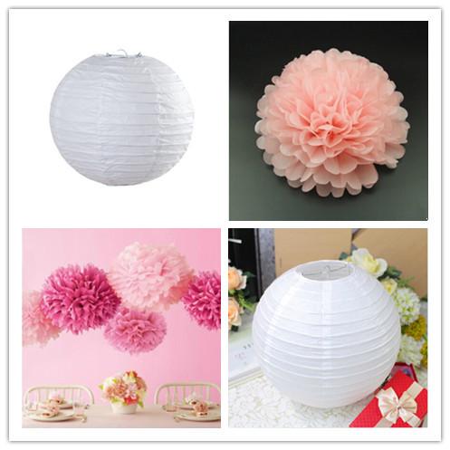 2015 New White Wedding Decoration & Party Decoration 20CM 6PCS White China Paper lantern And 15CM 6PCS Pink Paper Pom Poms(China (Mainland))