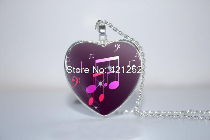 Purple Music Notes Pendant, Music Necklace, Old Sheet heart Necklace Glass Photo Cabochon Necklace(China (Mainland))