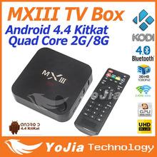 Original MXIII Android 4.4 4K Kitkat Amlogic S802 Quad-Core MXIII TV BOX 2GB/8GB Google MX3 2.4/5GHz Dual Wifi Free Shipping