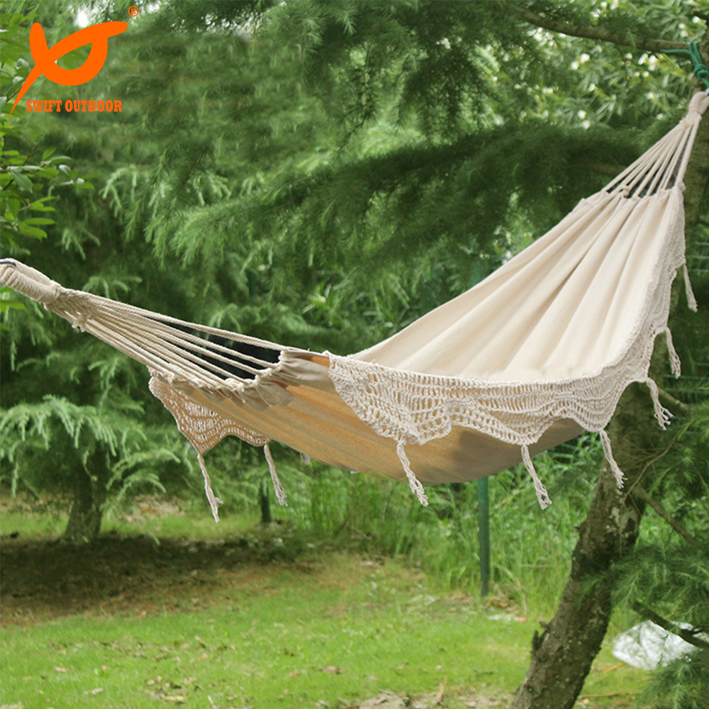 Free Shipping SWIF Outdoor New 100% Cotton Thickening Canvas outdoor 2 Person Portable Tassel Hammock White Fringe Hammock(China (Mainland))