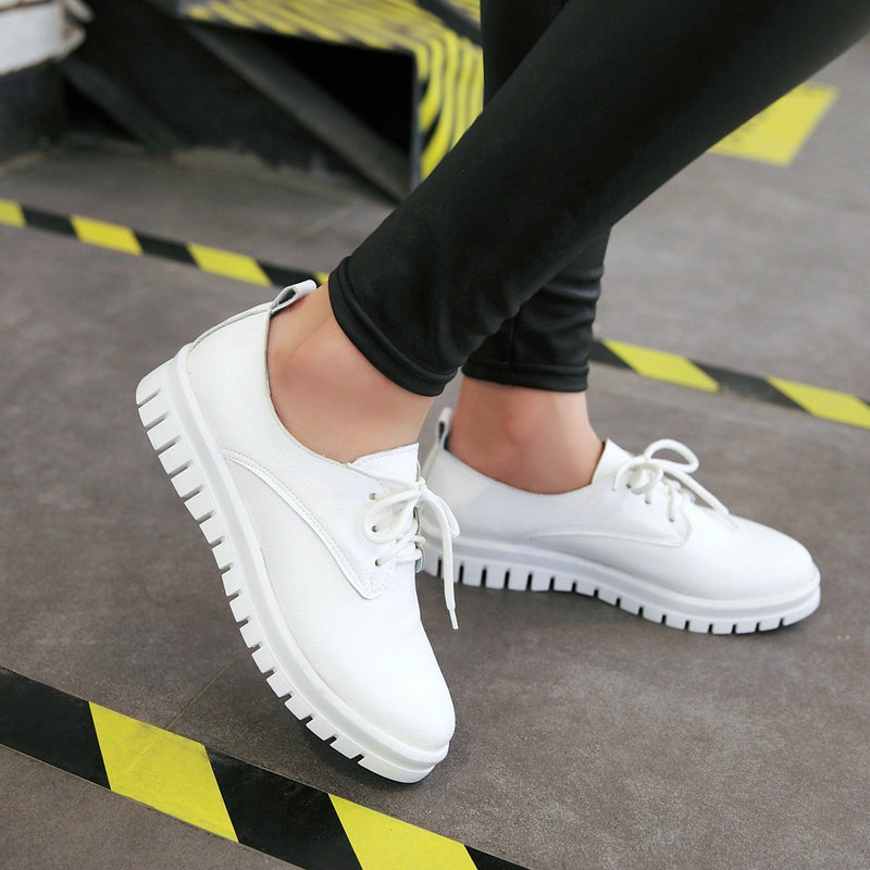 Womens Faux Leather Lace Up Flat Shoes Casual Comfot Ladies Round Toe Footwear Plus Size Black White Silver