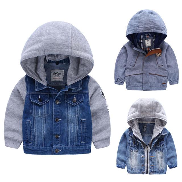 Для 2-8 Лет мальчики куртки Верхняя Одежда и Пальто для детей мальчика с капюшоном джинсовая куртка Лоскутная Осень Дети мальчики Кофты