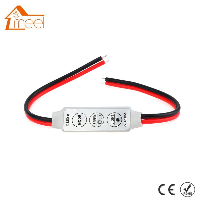 Dimmer LED Strip RGB Controller DC 12V 24V Mini Dimmer LED Single Color Controller for 5050 3528 5730 LED Strip Light(China (Mainland))