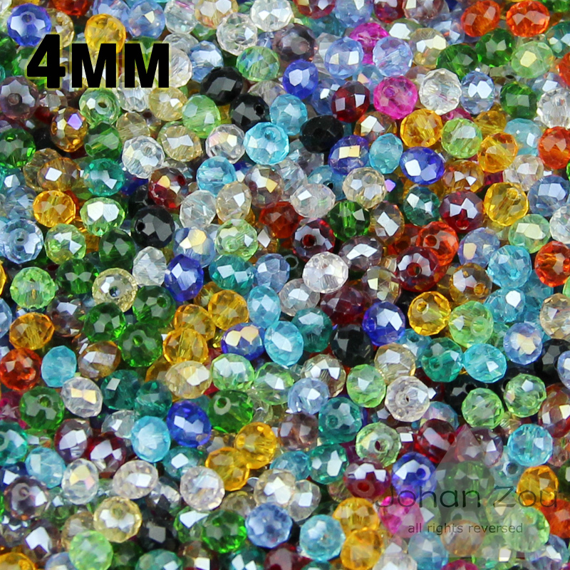 Top quality 4mm 100pcs AAA flat Round Shape Austrian crystals loose beads ball supply glass bracelet necklace Jewelry Making DIY()