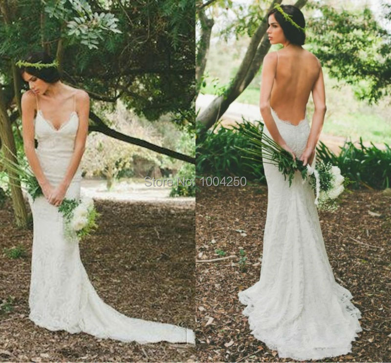 Yw007 new arrival sweetheart sexy open back backless lace for Backless sheath wedding dresses