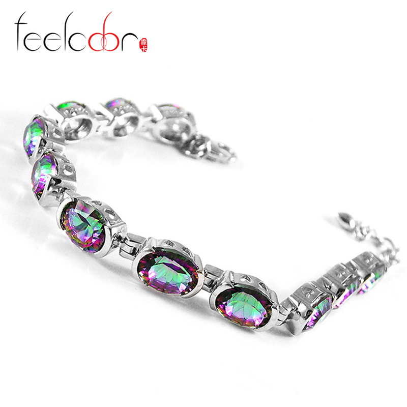 Classic 19.91ct Genuine Rainbow Fire Mystic Topaz Oval Cut Solid 925 Sterling Silver Tennis Bracelet Vintage Charm Gift Sets
