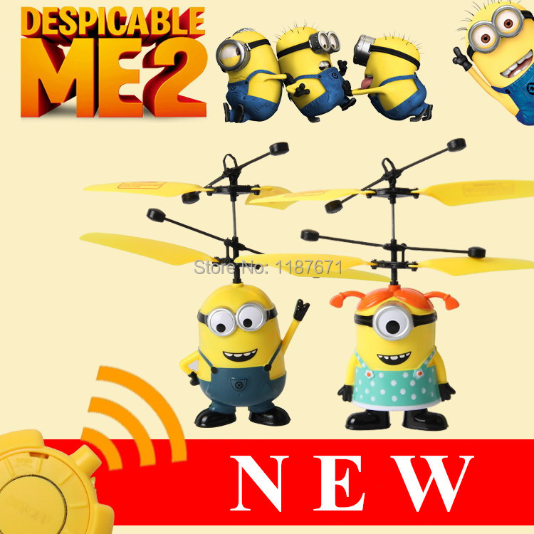 Mini RC Helicopter Despicable Me Sensor Flying Minion Shatter Resistant Remote Control Aircraft Helicoptero Kid Electronic Toys(China (Mainland))