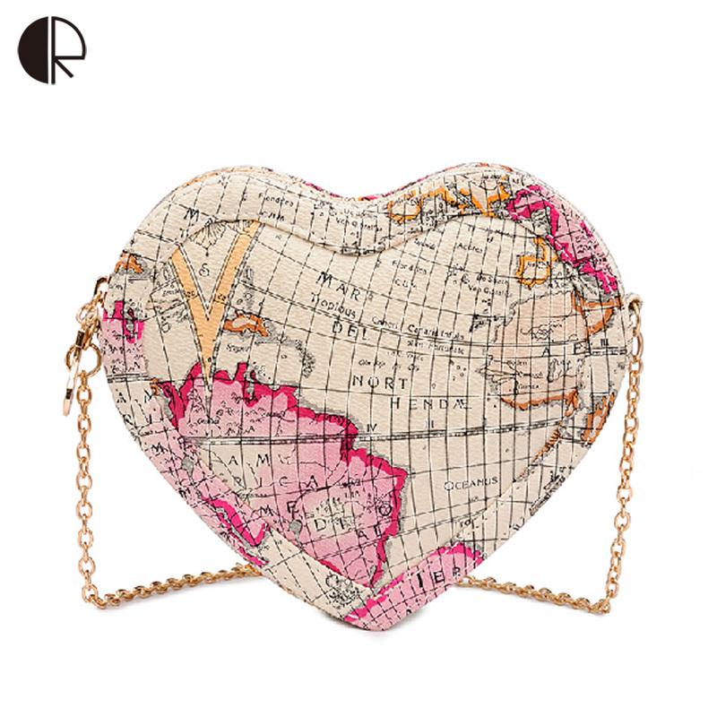 BH490 New Fashion Brand Design Women Brand Design Messenger Bags Heart Shape Lovely World Map Printed Ladies Handbag Mini Bags(China (Mainland))