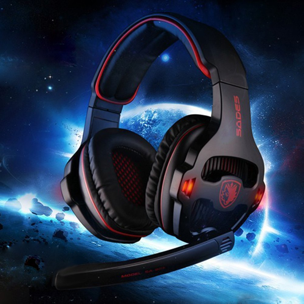 Гаджет  2015 New Sades SA - 903 7.1 Surround Sound USB Gaming Headset with Mic Volume Control White and Black Color Free shipping None Бытовая электроника