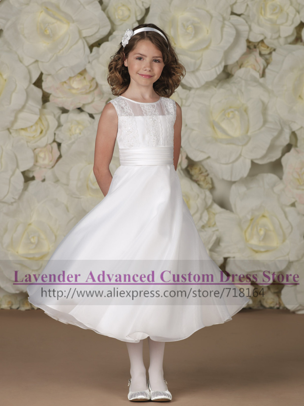2015 new style vintage flower girl dress organza A line girls pageant dresses children Christmas Thanksgiving outfits Vestidos(China (Mainland))