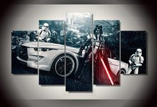 Framed Printed Star Wars Movie 5 piece picture painting wall art children's room decor poster canvas Free shipping/ny-804