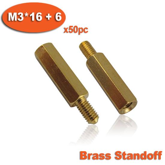 50pcs Male To Female Thread M3 x 16mm + 6mm Brass Hexagon Hex Standoff Spacer Pillars<br><br>Aliexpress