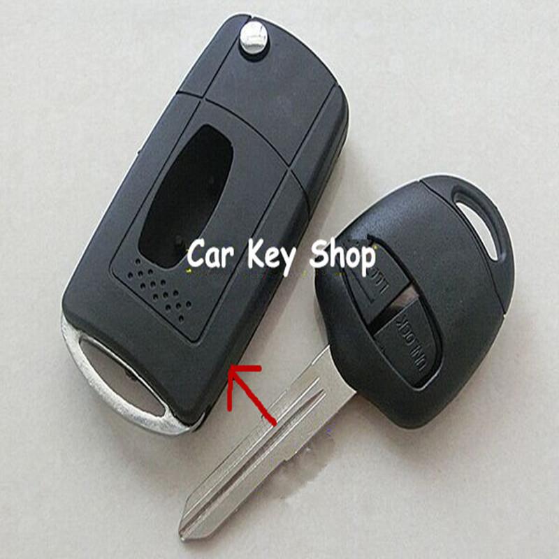 2 Buttons FOB Car Key Blanks Casefor Mitsubishi Outlander/Grandis/Pajero Modified Folding Flip Remote Key Shel()