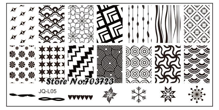 JQ-L Series Nail Stamping Plates Stamp Nail Art Template Manicure Tools Various types of curtains JL05(China (Mainland))