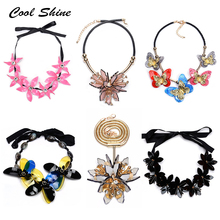Buy Cool shine New Za Vintage Acrylic Flower Necklace Long Silk Statement Maxi Choker Collar Necklaces & Pendants Women Accessories for $4.96 in AliExpress store