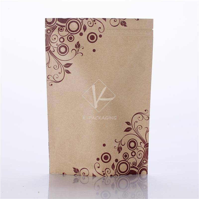 2015 Wholesale 16x24cm Printing Standing Zip Top Packaging Paper Bag / Paper Bag Food / Custom Paper Bag(China (Mainland))