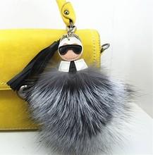 Fluffy Genuine Raccoon Fur Karl Pompom Monster Bag Bugs Charm Keychain Plush Key Ring Leather Tassel Pom poms Key chain F386(China (Mainland))