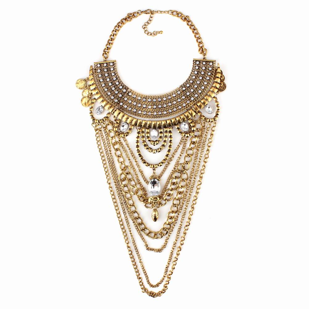 vintage metal alloy pendant bib chain statement