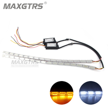 Buy 2x Car Flexible DRL White/Amber Switchback LED Knight Rider Strip Light Headlight Sequential Flasher DRL Turn Signal Waterproof for $29.55 in AliExpress store