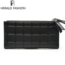 Herald Fashion PU Leather Women Wallet Plaid Long Design Ladies Purses Embossed Wallet Female Clutch Double Zipper Purses(China (Mainland))