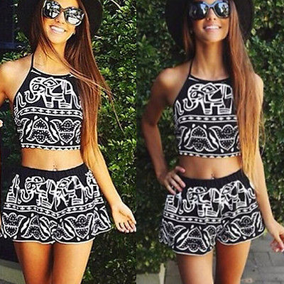 Sexy Tankini Set Animal Print Cute Swimsuit Women Halter Swimwear Two Pieces Swimsuit Female Crop Top With High Waist ShortsОдежда и ак�е��уары<br><br><br>Aliexpress