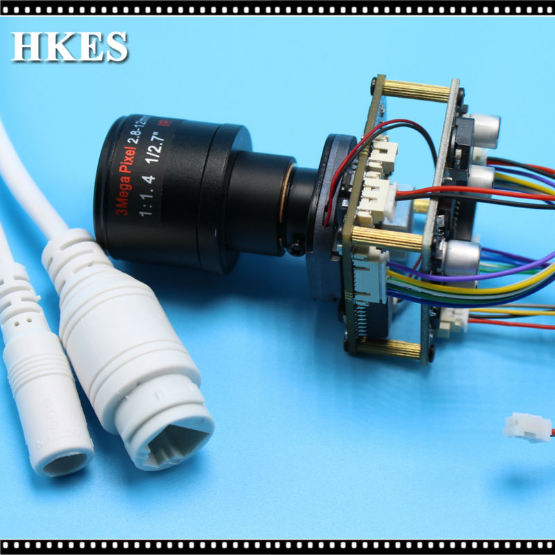 HKES Wide View 2.8-12mm Lens HD 1920*1080P 720P 960P HD POE IP camera module board LAN cable ONVIF P2P Low Illumination