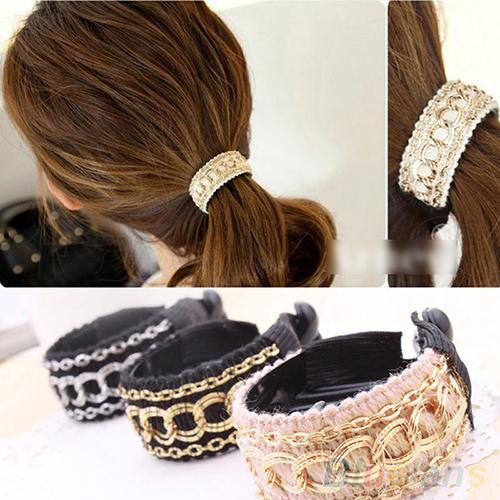Hot Sale Fashionable Luxury Cute Women Gold Chain Hair Clip Hair Barrette Ponytail Holder 4D7C 7EGC 9JBB(China (Mainland))