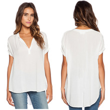 Short Sleeve Chiffon Blouse Shirt Fall Deep V Neck Buttoned Back Open Loose Casual 2016 Summer Spring Women Top