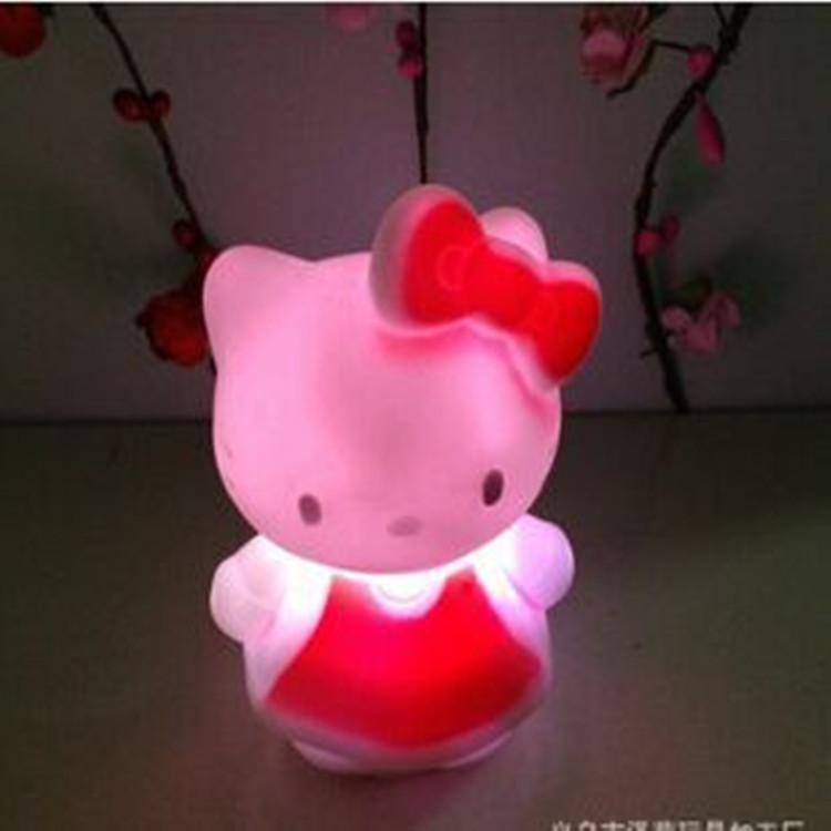 2016 hot light KT cat colorful Nightlight color vinyl flash LED light-emitting toys Home Furnishing decoration(China (Mainland))